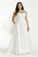 Wholesale Beautiful Silk Dresses - Strapless Ruched Bodice Empire Waist Plus Size Wedding Dress 9WG3707 Silk Taffeta Beautiful Simple Bridal Dress