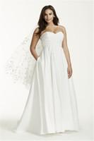 vestido de noiva em tafetá sem alças venda por atacado-Strapless Ruched Corpete Império Cintura Plus Size Vestido De Noiva 9WG3707 Tafetá De Seda Bonito Simples Vestido De Noiva