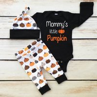 Wholesale Halloween Kids Outfits - Retail Ins New Baby Kids Halloween Clothing Sets Long Sleeve Romper+Pants+Hats Pumpkin 3pcs Outfits Infant Clothing 0-2Y SH021