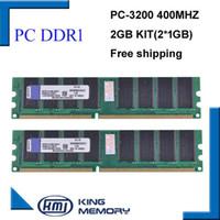 Wholesale Ram 1g Ddr - Free shipipng Desktop ddr1 400Mhz 2GB(kit of 2x1gb ddr1)PC-3200 KVR400X64C3A 1G ram low density for All Motherboard Desktop