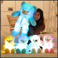 4 teddy bear venda por atacado-4 Cores 50 cm Colorido Brilhante Urso De Pelúcia Luminosa Brinquedos de Pelúcia Kawaii Light Up LED Urso de Pelúcia Boneca de Pelúcia Crianças Brinquedos de Natal CCA8353 60 pcs