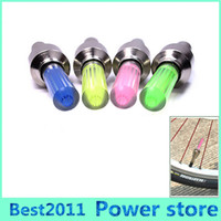 Wholesale Light Caps Tires - 500pcs Firefly Spoke LED Wheel Valve Stem Cap Tire Motion Neon Light Lamp For Bike Bicycle Car Motorcycle