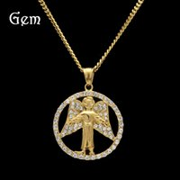 Fashion Hiphop Pendentif Colliers Pour Hommes Full Diamond Or Hip Hop Jewelry Tag Angel Charms Wholesale