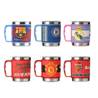 Wholesale Coffee Mugs Sale Free Shipping - Mix Sale Stainless Steel Coffee Mugs PVC Embossed Football Team Metal Water Tumbler With Lids Drinkware DHL Free Shipping