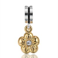 Wholesale Pandora Gold Flower - Wholesale Flower Pendant With 18K Gold Charm 925 Sterling Silver European Charms Bead Fit Pandora Snake Chain Bracelets DIY Jewelry 136