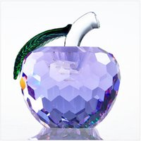 Wholesale Crystal Figurines Wholesale - 40mm Cut Crystal Apple Paperweight Glass Quartz Crafts Home Decor Fengshui Ornaments Figurine&Miniature Souvenir Gifts LZ0043