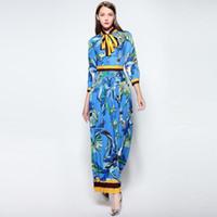Wholesale Empire Waist Dresses Long Sleeves - 2017 autumn new women's butterfly tie print zipper waist seven long-sleeved pleated Evening Dresses