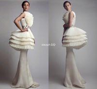 vestidos de festa venda por atacado-Krikor Jabotian 2020 Vestidos de Noite Peplum Sereia Ruffles Cetim Moda Comprimento Estilo Árabe Vestidos Formais Festa de Celebridade para o Pageant