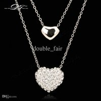 Wholesale Platinum Plated Jewellery - Two Love Heart Cubic Zirconia Necklaces & Pendants Platinum Plated Fashion Vintage Jewelry Jewellery For Women Chains DFN031
