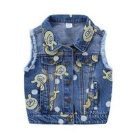Wholesale Cool Boy Vest - New arrival fashion Kids clothes wholesale boys denim vest Ripped tassels cartoon cool washed Waistcoats Spring Fall Winter Pockets Jackets
