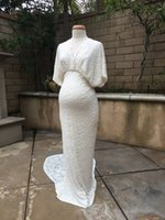 Wholesale Dresses For Pregnant Ladies - Real Pictures Full Lace Mermaid Wedding Dresses With Sleeves Sexy Back Plus Size Bridal Gowns For Pregnant Lady Custom Made