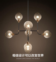Wholesale Clothes Fixtures - North Europe led pendant light 8 globe art glass chandelier DNA pendant lights for coffee clothing lighting fixture