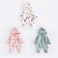Wholesale Newborn Outwear - INS Newborn Baby fall long sleeve round collar with cap zipper romper 100% cotton Full printed cartoon pattern outwear Stereo ear romper