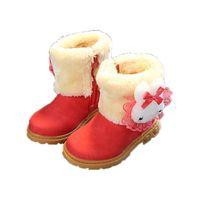 lindas botas de encaje al por mayor-Las niñas de invierno cálida felpa forrada de media pantorrilla Boots Child Fashion Cute de encaje Bowknot de diseño plana con boot Baby Kids PU Leather Shoes-17
