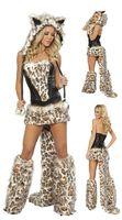 Wholesale Leopard Dance Uniform - Frisky Leopard Women's Clothes Catwoman Costume Dance Wear Sexy Halloween Party Costume cosplay Tiger costume 2118