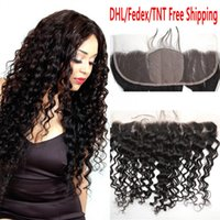 Wholesale Silk Top Lace Closures - Curly Human Hair 13x4 Silk Base Lace Frontal Closure With Baby Hair Ear to Ear Silk Top 4*4'' Lace Frontals Brazilian Deep Wave G-EASY