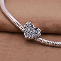 Wholesale Sterling Silver European Letter - Heart-shaped letter NEWEST Li Guohua 1   lot pure silver S925 sterling silver charm bead bracelet luxury European fashion jewelry DIY