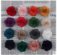Wholesale Handmake Flowers - Lapel flower camellia handmake boutonniere brooch pin men's accessories 16 colors button stick flower brooches for wedding party