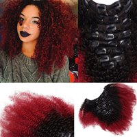 Wholesale European Clip Curly Hair - T1b Red Ombre Clip In Human Hair Extensions Afro Kinky Curly For Black Women Two Tone Brazilian Virgin Hair Clip Ins 100g 7pcs
