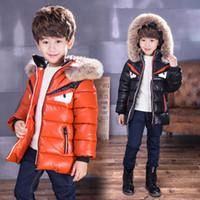Wholesale Leather Jacket Plus Velvet - 2017 Fashion Children's clothes Little monster Plus velvet thickening Stuffed cotton hat Leather Children