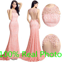 Wholesale Simple Black Cocktail Dress Designs - Real Image 2016 Own Design Pink Lace Long Formal Evening Party Dresses Sheer Neck Lace Floral Cap Sleeve Mermaid Occasion Prom Gown