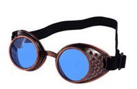 Wholesale Wholesale Welding Greens - Vintage Steampunk Sunglasses Goggles Welding Punk Gothic Glasses Cosplay Unisex Gothic Vintage Victorian Style Sunglasses 7 colors
