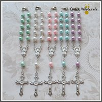 Wholesale Wholesale Religious Rosaries - 50pcs lot Religious Gifts Multi Colors Glass Pearl Rosary Bracelet Catholic Children's Communion Baby's Baptism Favor Decade Mini Rosary