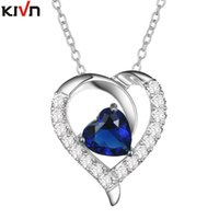 Wholesale Royal Necklaces Jewelry - KIVN Fashion Jewelry Royal Blue Pave CZ Cubic Zirconia Women Girls Heart Wedding Bridal Necklaces Promotion Birthday Gifts