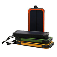 banco de energía solar dual al por mayor-20000mah Banco de la energía solar Cargador solar a prueba de agua Batterie Externe Dual USB Camping Cargador de batería portátil Powerbank con luz LED