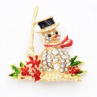Wholesale Christmas Snowman Crystal Pins - Fashion Christmas Snowman Brooch Stunning Crystals Lovely Enamel Christmas Brooch Pins Girls Gift Collar Pins Fashion Gold Plated Brooch Pin