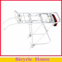 Wholesale Bike Rear Carrier Rack - Wholesale-New Arrival !26 inch Cycling Bicycle Bike Aluminum Alloy Silver Luggage Carrier Rear Rack 25kg Capacity with Red Rear Light