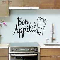 Wholesale kitchen decals quotes - Wholesale- Oujing 1 PC DIY Vinyl Wall Stickers Quote Bon Appetit Dinning Room Kitchen Decals Art Gifts PVC Home ation Paper