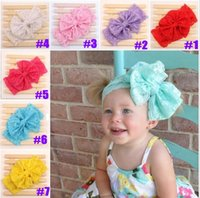 Wholesale Hair Acessories Baby - Fashion Baby Girl Headbands Lace Big Bow Hair Band Baby Accessories Head Wrap Band Acessories