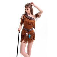 Wholesale Sexy Indian Womens - 2016 New Adult Womens Sexy Halloween Party Indian Princess Costumes Outfit Fancy Cosplay Dresses