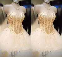 Wholesale Sweetheart Neckline Dresses For Homecoming - Homecoming Dressed 2016 Gold Beaded Short Mini Prom Dresses Sweetheart neckline Tiered Tulle Ball Gowns Corset Graduation Dresses for Girls