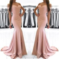 Blush Pink Off the Shoulder Prom Kleider 2017 Sexy Backless Satin Sweep Zug Meerjungfrau formale Abendkleid tragen billige lange prom Kleider