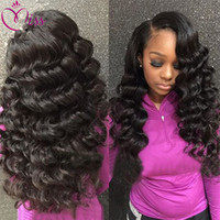 Wholesale long braiding hair weave for sale - Raw Indian Hair Loose Wave Hair Cheap Braided Lace Front Wigs Indian High Ponytail Full Lace Wigs Queen Weave Beauty