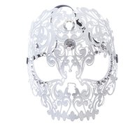 Wholesale Masks Filigree - Venetian Masquerade Masks Skull Metal Filigree Laser Cut Masquerade Mask Halloween Metal Mask with Rhinestones Two Clour