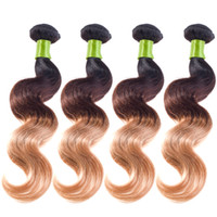Wholesale Thick Ombre Hair Extensions - Hair Extensions Ombre Body Wave Brazilian Hair Styles 8-26 Unprocessed 7a Grade Brazilian Weave Very Thick End No Tangle Three Tone Weave