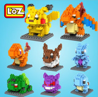 Wholesale 8 Style Poke Go Figure Minifigure Building Blocks DIY Pikachu Squirtle Model Toys Miniature Diamond Brick Boys Toys