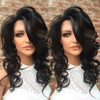 Wholesale Body Stocking Pictures - Fashion body wave Full Lace Wig #1b in Stock 130% density as picture 100% Indian Remy human hair Wig Unprocessed