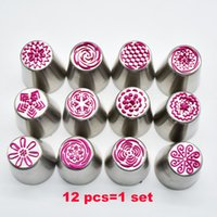 Wholesale Ice Dessert - New Different style Russian Tulip Stainless Steel Icing Piping Nozzles Tip Pastry tools Dessert Decorators Free Shipping WX-C26