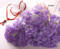 Wholesale Wholesale Fake Hydrangea Flowers - Free shipping Lovely Realistic Light Purple Mini Hydrangea Artificial Fake Flower Arrangement for Desk Home Hotel Decoration Ornament