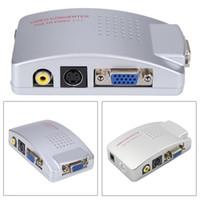 ingrosso av adattatore per computer portatile-Freeshipping PC Laptop Composito Video TV RCA Composito S-Video AV In PC VGA LCD Convertitore adattatore Switch Box