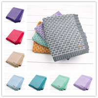 Wholesale Baby Patterns Knitting Crochet - 13 colors Kids brick pattern jacquard knitting blanket 95x75cm cute baby girls boys crocheted swaddle ins hot infants knitted quilt
