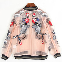 Wholesale Casual Organza - 2017 floral embroidered bomber jacket organza women jackets long sleeves jewel neckline ladies outerwear coats women clothing