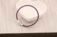 Wholesale Diy Leather Bracelet Rope - Romatic Purple Charm Bracelets Fits For Pandora Style ,925 Sterling Silver Clip Clasp s925 ALE Beads Genuine Leather Bracelet DIY Jewelry