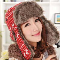 Wholesale Cute Warm Women Trappers Hats - Korean Woman winter Cashmere cute Christmas deer printing Lei Feng cap warm ear protection anti-cold snow knitting wool hat