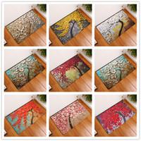 malen teppich großhandel-Baum der verschiedenen Farben Ölgemälde Fußmatten Badezimmer Küche Teppiche Fußmatten Katze Bodenmatte Wohnzimmer Anti-Slip Tapete