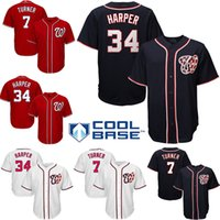 Wholesale Baseball Jerseys Washington - Men's Washington Nationals 34 Bryce Harper 7 Trea Turner Majestic blue red White 2017 Cool Base Jersey